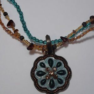 """Necklace, Beaded and Metal, 10"""" Long"""